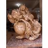 供应木雕工艺品 商务礼品 木雕双龙戏珠 摆件