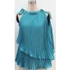 2011女装热销春绿色飘逸压褶雪纺时尚无袖小丝巾领女上衣