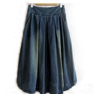 2011半身裙热卖款显瘦大摆牛仔裙牛仔长裙