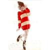 2011秋冬新款女装 条纹毛球大熊耳朵软绵绵带帽毛线毛衣