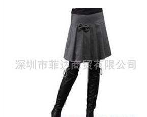 供应织朵小蝴蝶结加厚羊毛呢子包臀百褶裙半身裙中裙