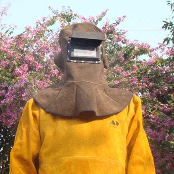供应碳啡色牛皮电焊面罩