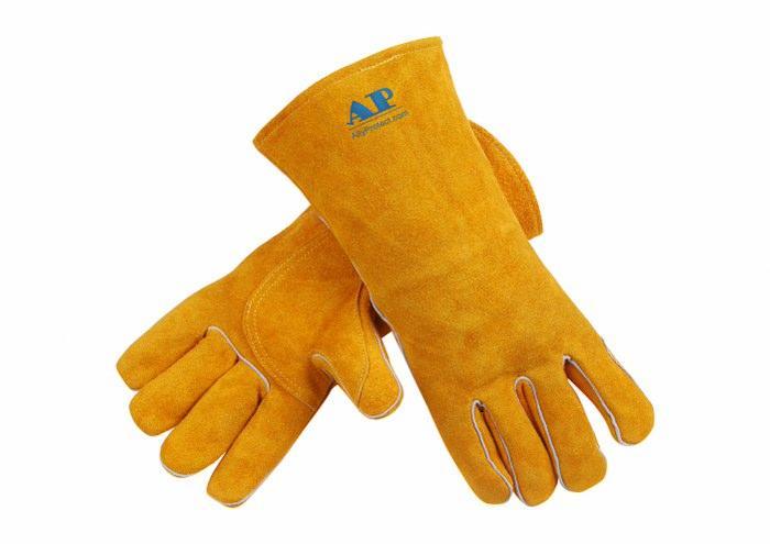 供应金黄色牛二层皮手套