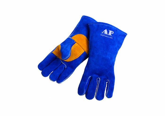 供应彩蓝色护掌烧焊手套