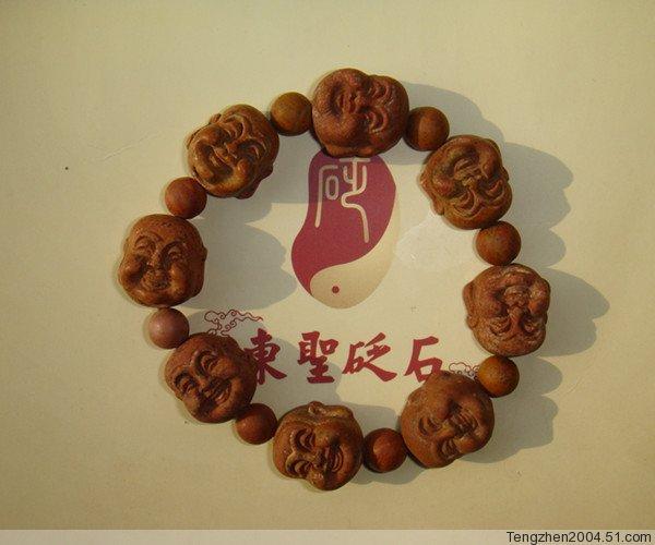 供应正品泗滨砭石 东圣砭石 泗水砭石手链 佛头砭石手链 包邮