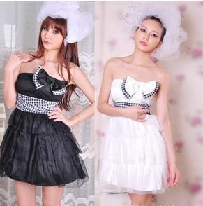 新娘伴娘婚纱甜美蝴蝶结网纱蓬蓬礼服裙 洋装裙