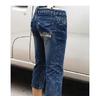 特价Z2801七分牛仔中裤夏款修身弹力雪花牛仔裤批发
