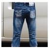 Z5012牛仔中裤 蓝色夏款水洗磨白磨破韩版女装七分裤牛仔裤
