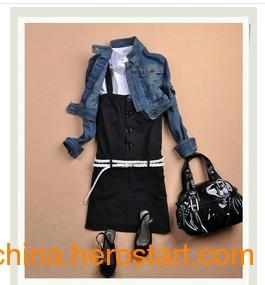 时尚帅气背带裙 96%棉 黑色 0Q031