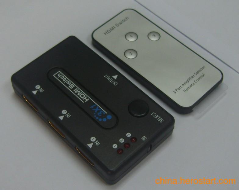 供应深圳厂家直销迷你塑壳批发3进1出 遥控HDMI切换器