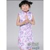 供应2012紫色提花棉水滴领儿童旗袍