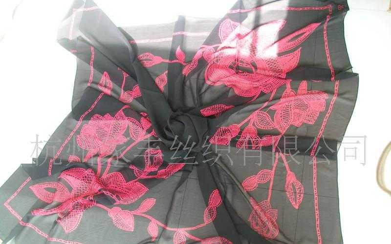 真丝乔其印花大方巾、真丝印花围巾、沙滩巾