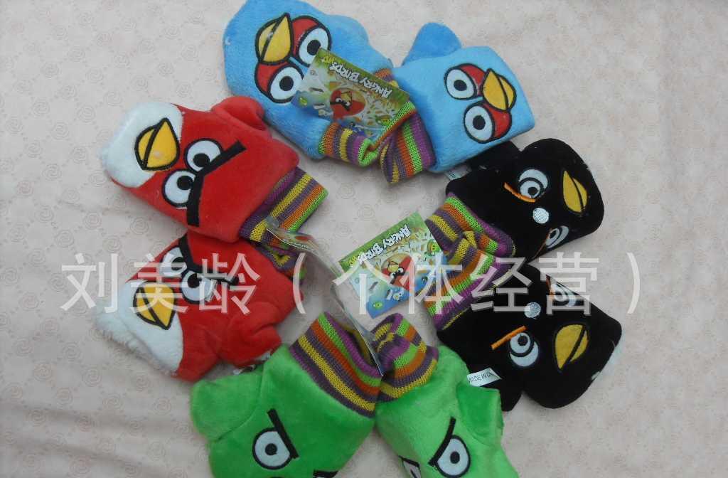 供应愤怒的小鸟毛绒儿童手套/5色:红,黑,黄,蓝,绿