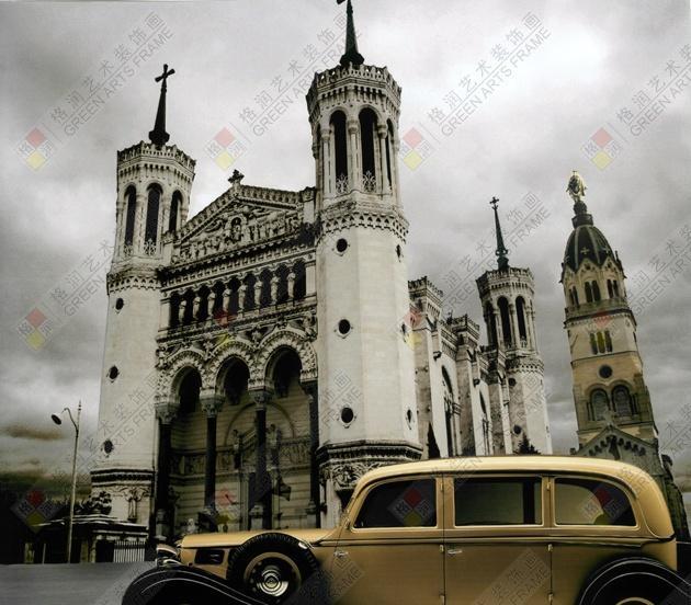 批发订做装饰画 欧式建筑 风景 轿车油画 酒店壁画 相框 无框画