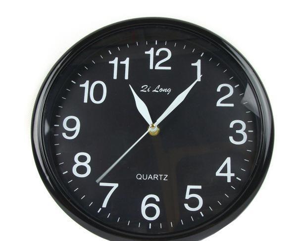 913黑圆钟 圆形钟 石英钟 挂钟 多色电子钟 日用百货批发0.