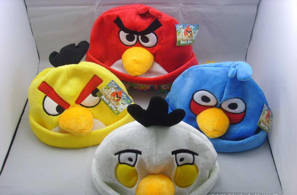 供应愤怒的小鸟毛绒帽子/宽34CM X 19CM/ 红,黑,蓝,黄,四色