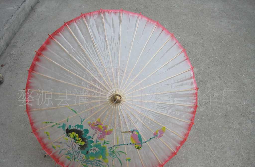 【厂家直销】纯手工彩边手绘国画油纸伞 图案多样
