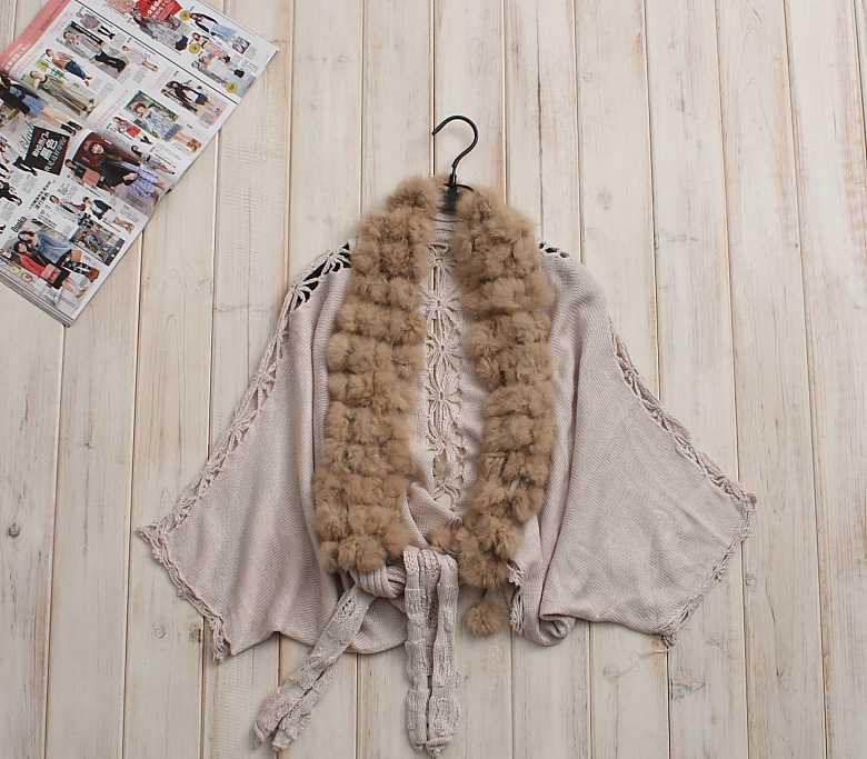 DOON -2 外贸女装100%兔毛针织披肩斗篷披肩流苏镂空毛衣外套