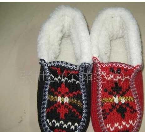供应外贸出口棉鞋针织毛线低帮翻口棉拖鞋