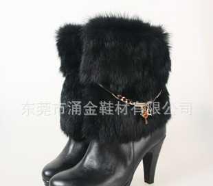 2012新款上市流行时尚商务休闲真皮兔毛高帮高跟女鞋