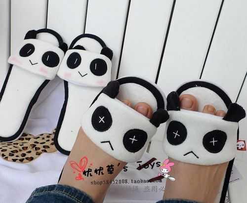 批发熊猫轻松小熊控卡通居家空调露趾地板毛绒情侣棉拖鞋防滑底