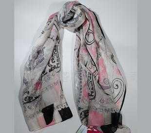 100%桑蚕丝金线花纹长巾WJ052-0102-1