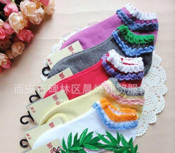 日高无骨袜 夏季纯彩色全棉女短袜 双色花边纯棉袜子 船袜