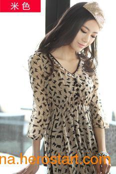 供应品牌雪纺豹纹性感打底裙雪纺连衣裙