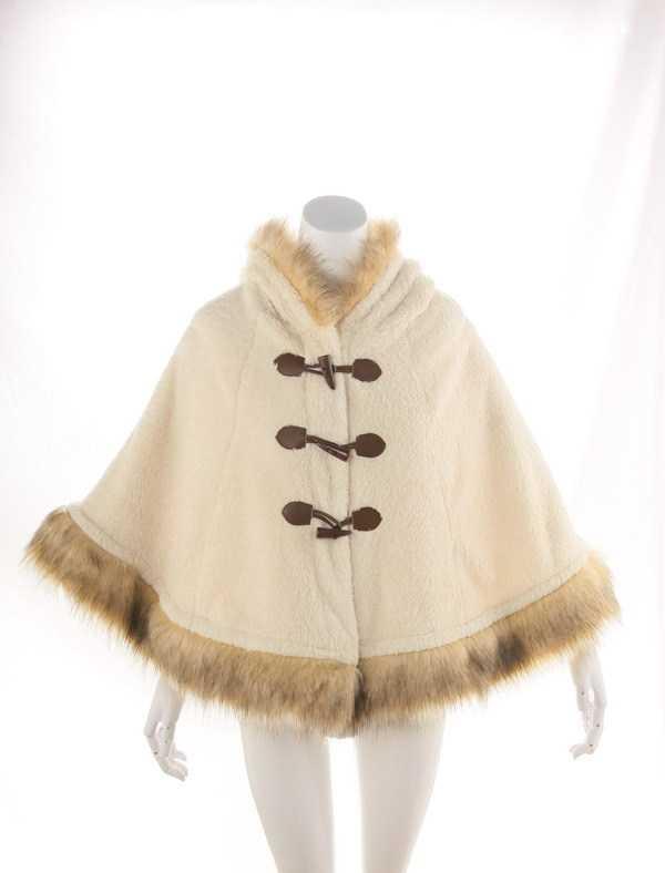 精品现货!新款日本lizlisa同款冬季珊瑚绒毛绒斗篷披肩0288