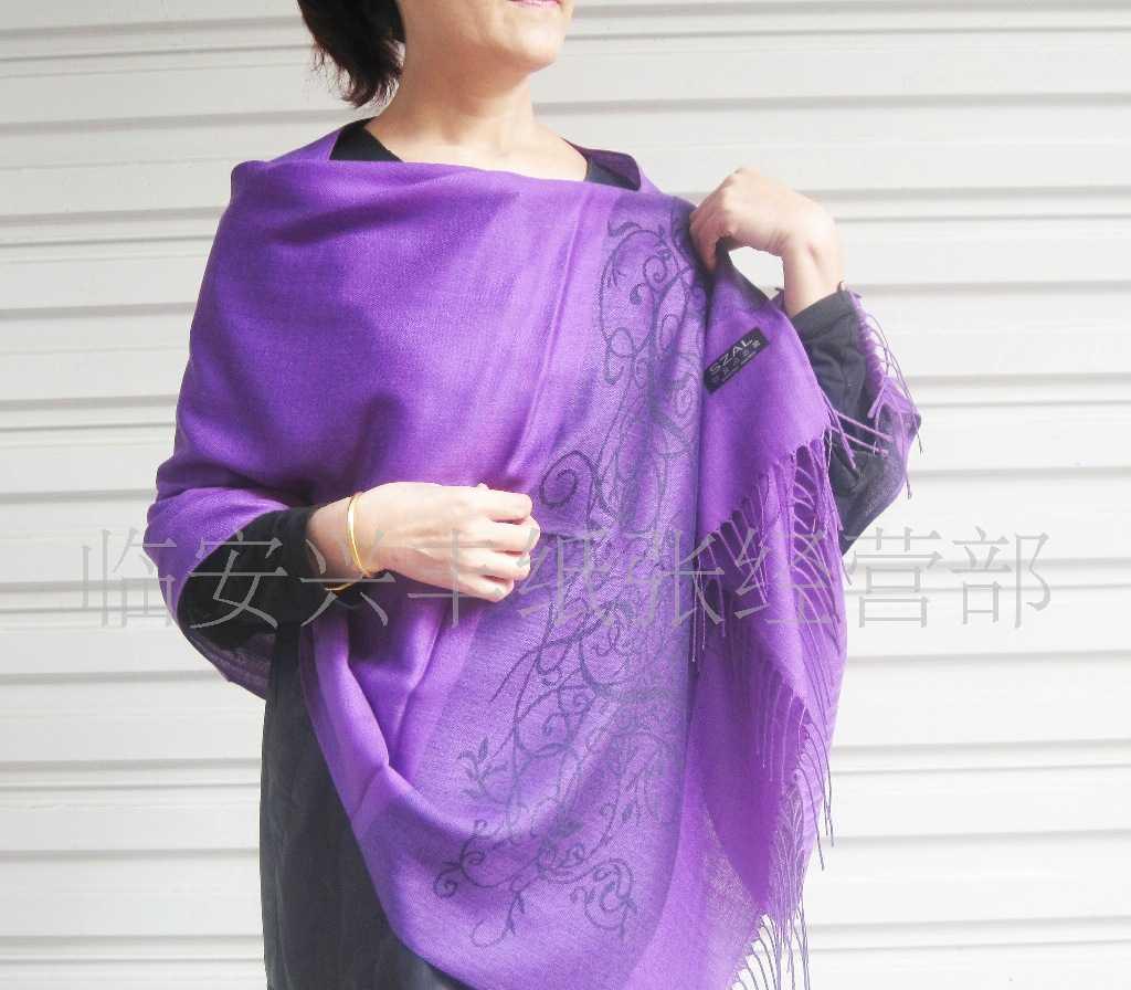 承接国内外定单出口定单紫色高贵典雅围巾丝巾披肩