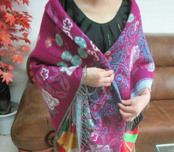承接定单最新款大方巾七彩牡丹提花披肩外贸保暖披肩(10色)