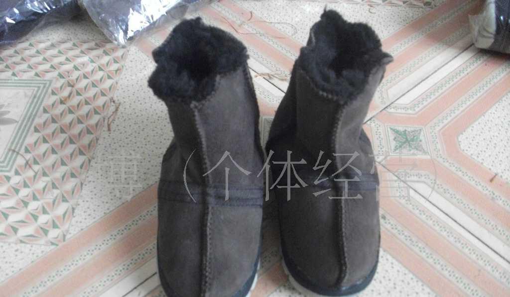 供应进口澳羊皮粘底(TPR)童鞋皮毛一体童鞋童靴宝宝靴