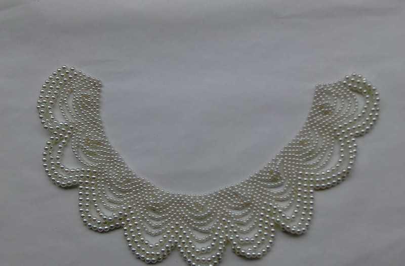 仿珍珠编织花边领花