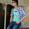 2012新品韩版男式格子衬衫厂家直销短袖衬衫批发淘宝数据包feflaewafe