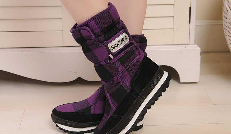 批发/代理 防水防滑 格子雪地靴 绿黑格 中筒鞋女鞋