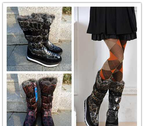 防水 防滑 2011新款 豹纹雪地靴高筒 雪地鞋 棉鞋 棉靴 女靴子