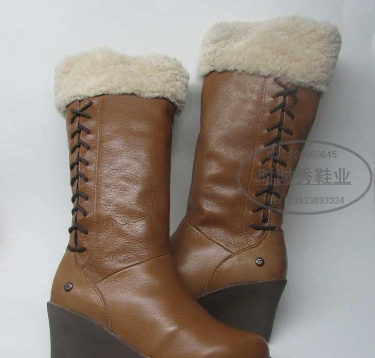 mlppie 外贸靴 时尚羊毛一体坡跟系带女靴 雪地靴