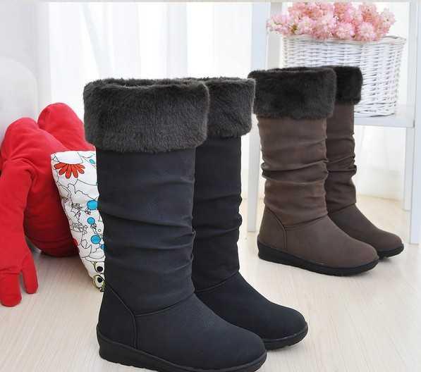 2011年新款休闲瘦腿加厚纯色绒毛翻出设计橡胶底 中筒雪地靴