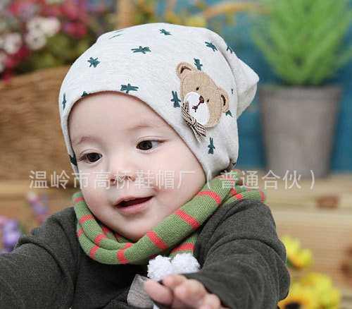 2634 公主妈妈婴儿帽子 儿童帽 小熊帽 春帽 棉布帽  55g