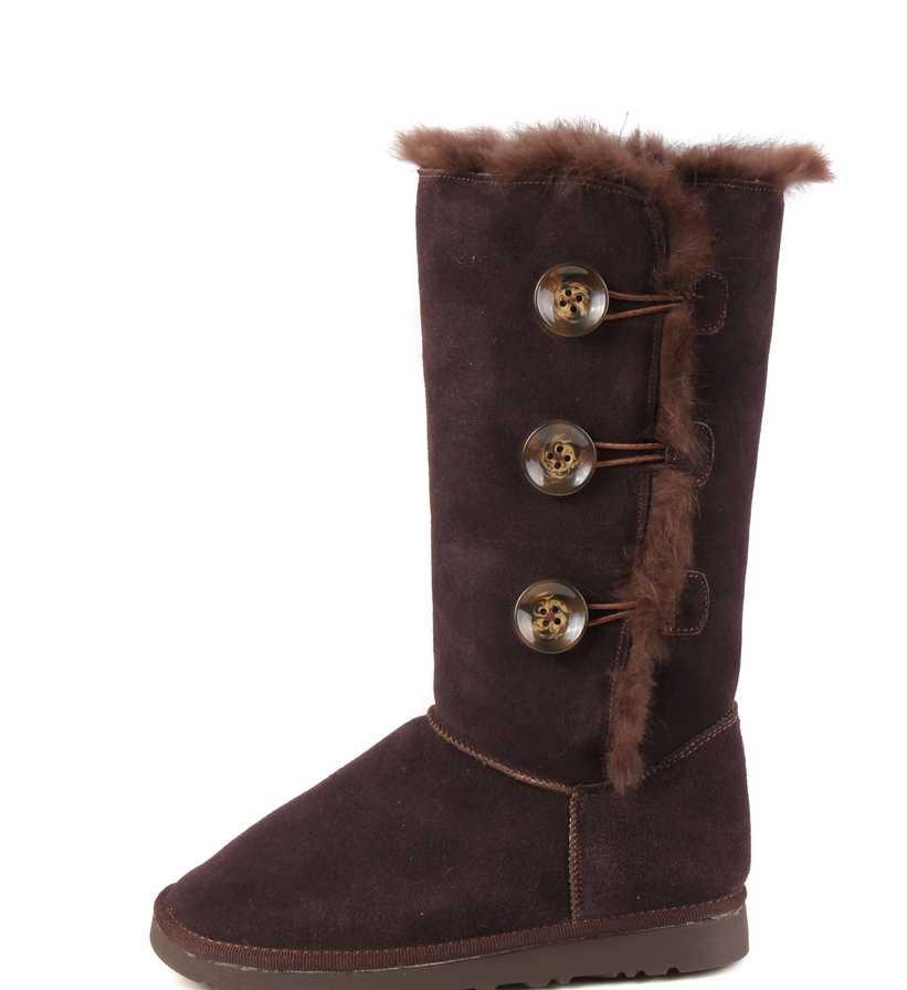 厂家批发供应1873#高筒牛反绒皮巧克力侧扣流行时尚版女雪地靴