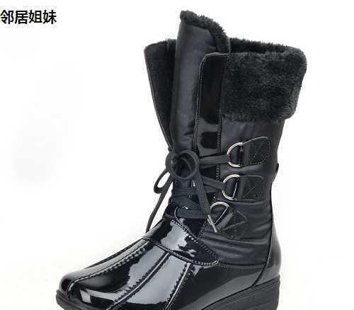 批发供应时尚PU革橡胶底超保暖百搭雪地靴(图)