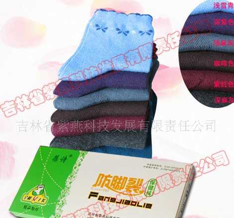 供应葆诗防脚裂袜 Q3161 女士厚棉全脚型 原紫燕脚裂袜
