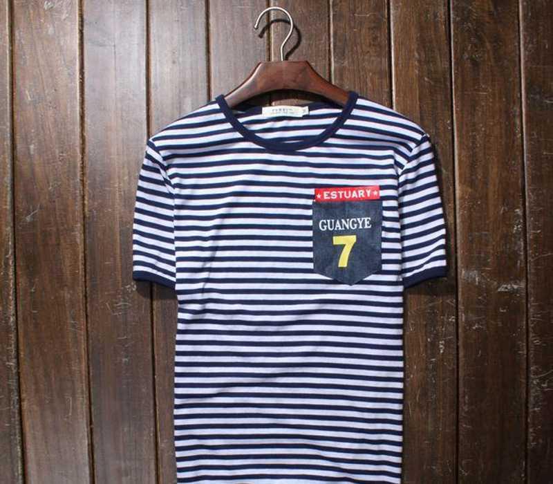 韩版男士条纹打底衫 2012新款男装牛仔口袋7号短袖t恤 时尚男潮t
