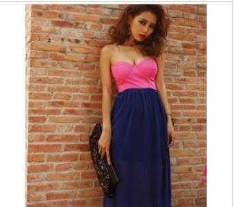 598 夏季 欧美风性感低胸拼接超仙薄纱高腰抹胸长裙