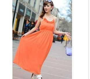509 2012韩版 吊带钉珠 珍珠雪纺连衣裙 波西米亚风格裙
