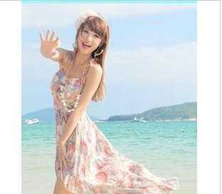 560 甜美印花不规则下摆吊带裙沙滩裙 波西米亚民族风连衣裙