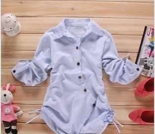 24607#2011新款春装韩版女装斜扣修身长款长袖衬衫