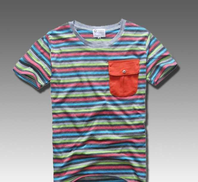 2012潮牌新款 林弯弯韩版 条纹民族风口袋休闲短袖T恤 EC-9010