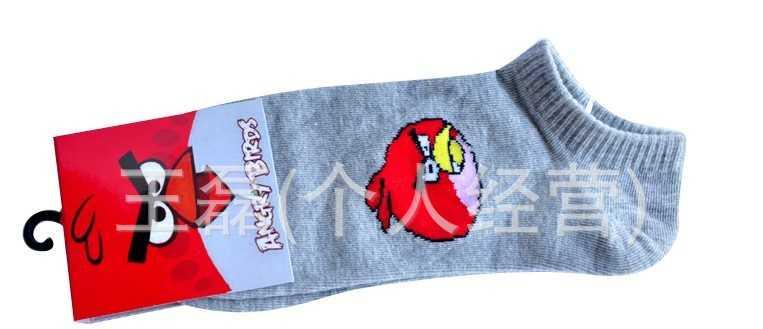 日韩外贸袜子 卡通愤怒的小鸟提花素色短袜船袜批发 厂家批发