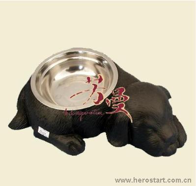 供应工艺品、铁艺之花园系之铸铁狗食盆